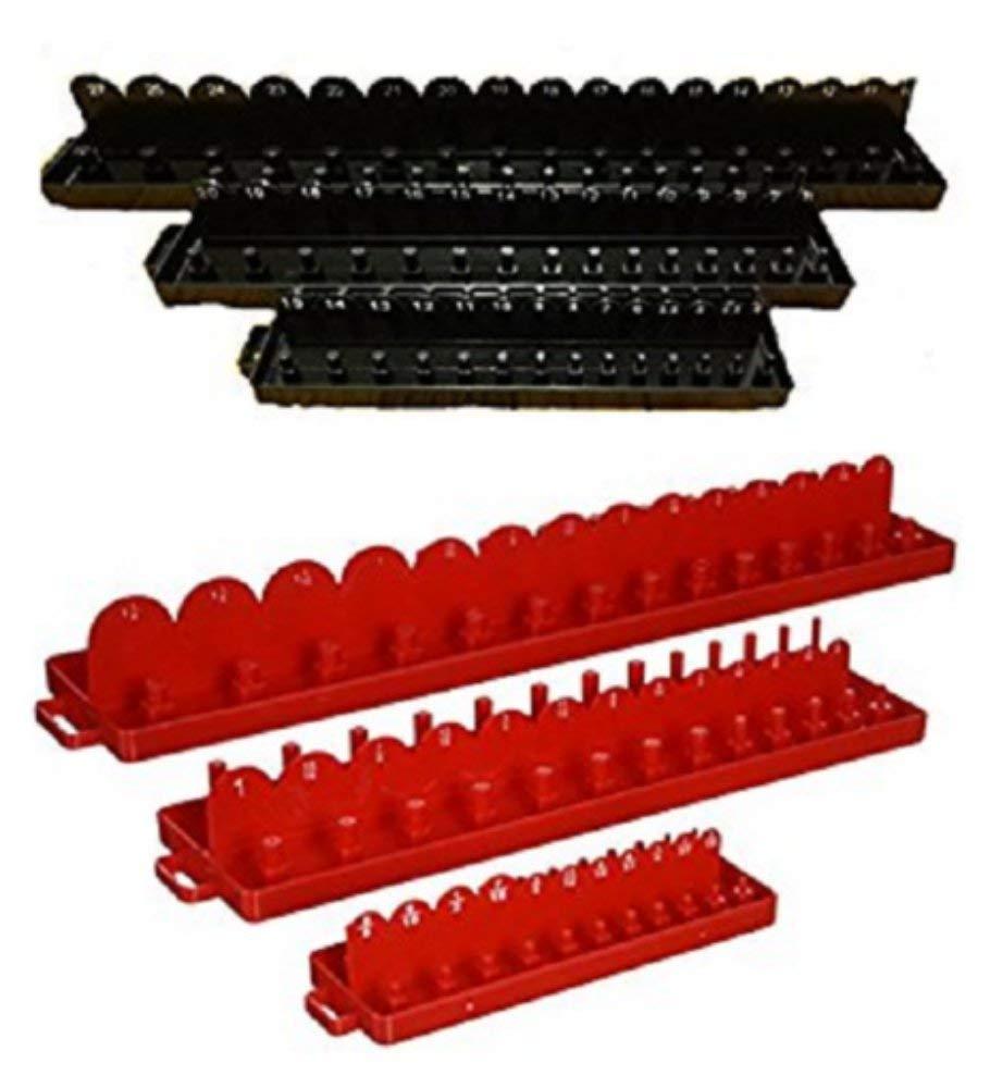 6pc 1/4 3/8 1/2 Drive SAE & METRIC Sockets Trays Holders Organizer Tools