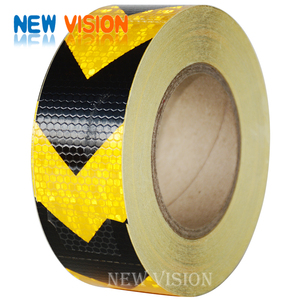 50mm*25m Yellow Black Reflective Warning Tape Roadway Arrow Tape for vehicle