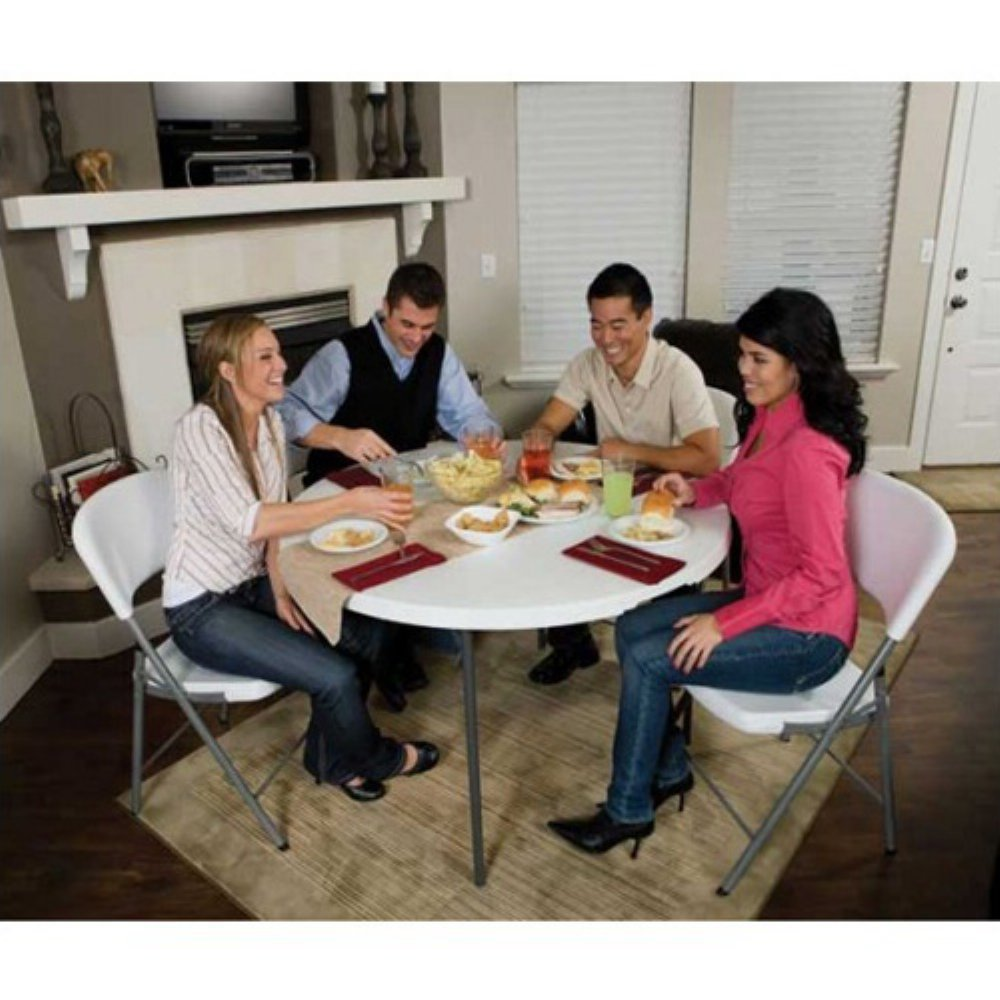 Get Quotations · Lifetime 48 In. Round Fold In Half Folding Table And 4  Chair Set