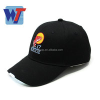 Black sports cap with led light cool design led fishing cap