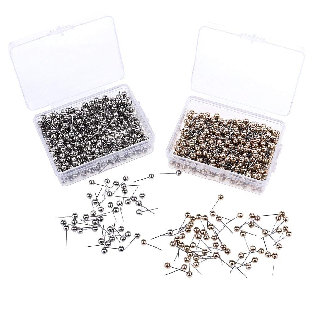 Fityle Wholesale 1000 Pieces Plastic Round Head Metal Pin Thumb Tack Push Pins for Dress Making Sewing DIY Projects Silver