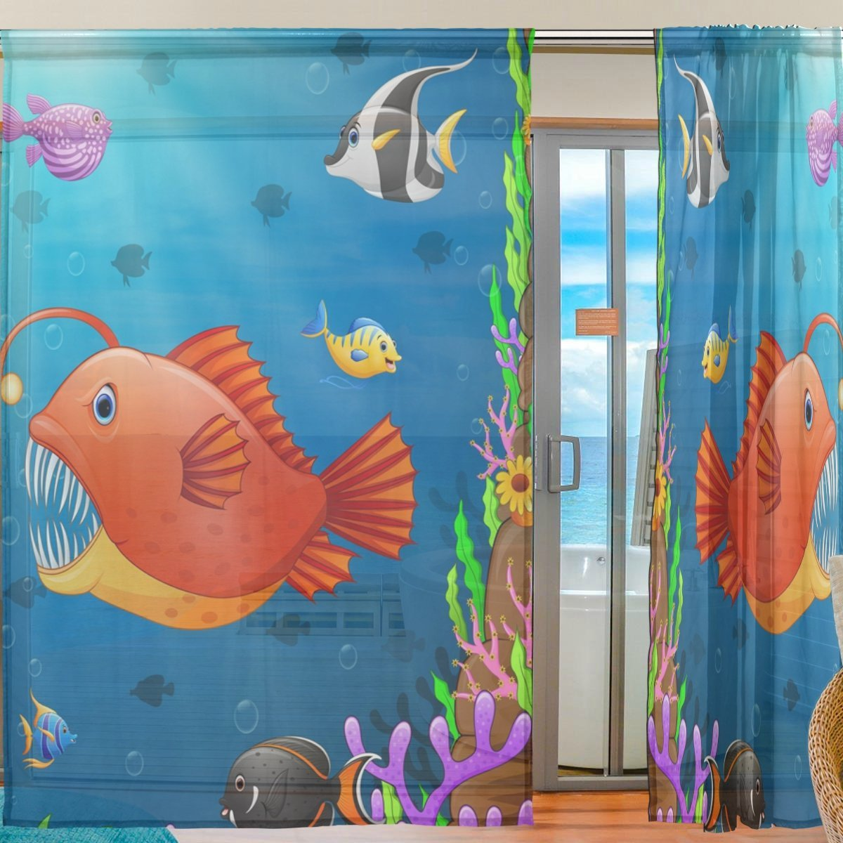"""WOZO Custom Underwater World Ocean Fish Sheer Panel Pair Curtains 55""""x78"""", Sea Coral Reef Modern Modern Window Treatment Panel Collection for Living Room Bedroom Home Decor"""