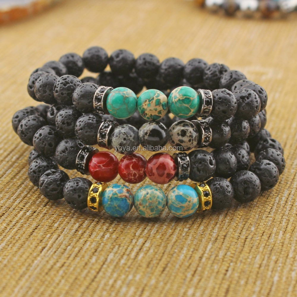 BRP1321 Good quality black lava and various imperial jasper beads with brass findings bracelet jewelry
