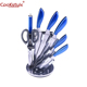 high quality stainless steel hollow blue handle 8 pcs kitchen knife set with Aleck block