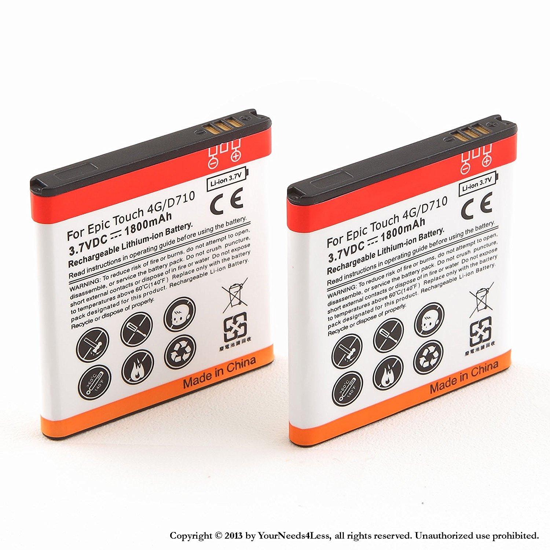 YN4L® 2x 1800mAh battery for Galaxy S Epic Touch 4G D710 Sprint; Samsung Galaxy S II R760