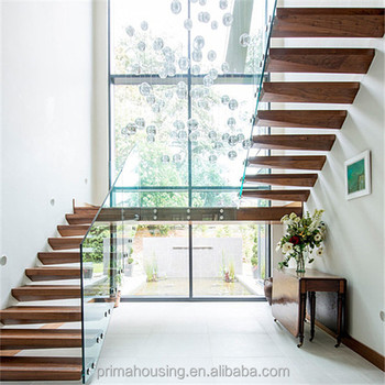 China Oak Solid Wood Steps Indoor Floating Stairs