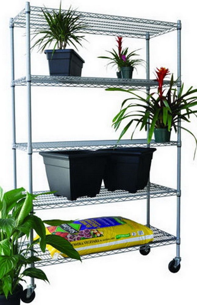 Get Quotations · Trinity Epoxy Coated 5 Tier NSF Heavy Duty Adjustable  Outdoor Wire Shelving Storage Rack