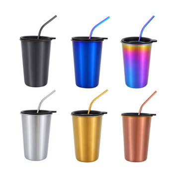16 oz  Stainless Steel Classic Simple Coffee Tumbler Cups with Straw and Lid