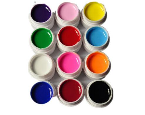 Hot 12pcs/ set  Pure Color UV Gel Nail Art Tips DIY Decoration for Nail Manicure Gel Nail Polish Extension Nail Salon Home Use