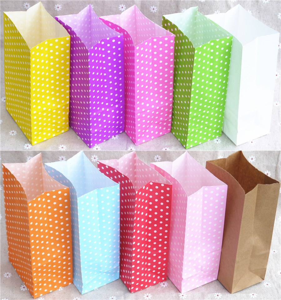 Wholesale Stand Up Colorful Candy Open Top Gift Packing Paper Treat Polka Dot Bag