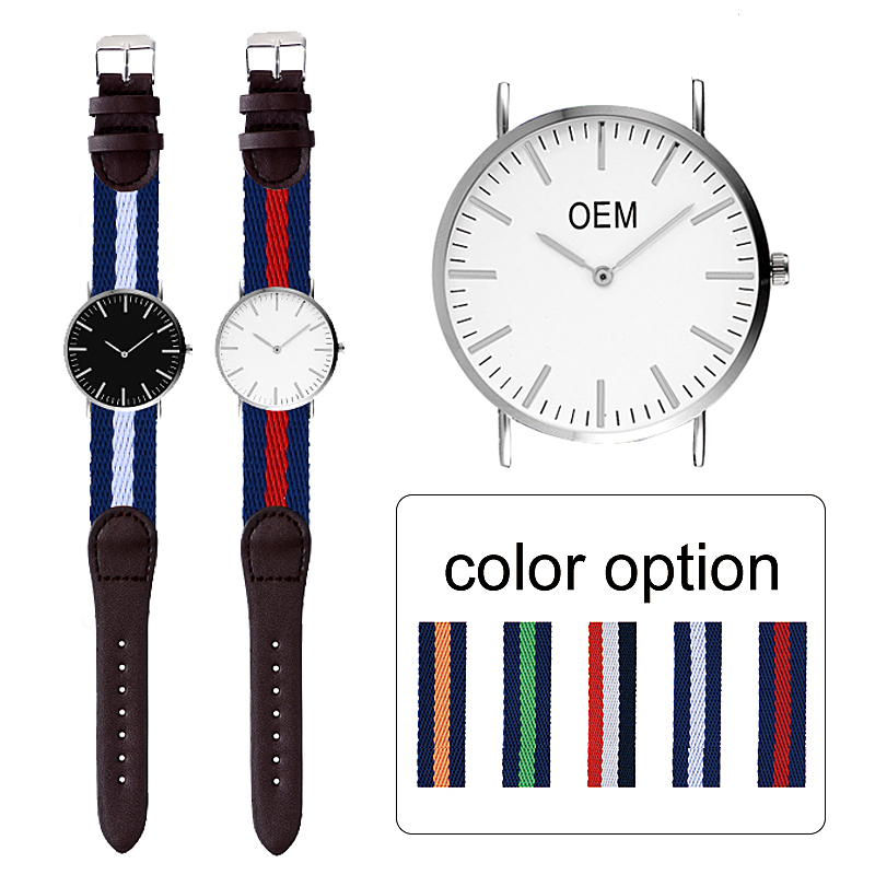 Custom -made Sport Watch Multi Colors Nylon & Leather Strap Customization Brand Your Own Watch Quartz OEM private label watch, As photos
