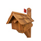 Handcrafted Rural Mailbox w Flag Wood Roof cedar wood mailbox