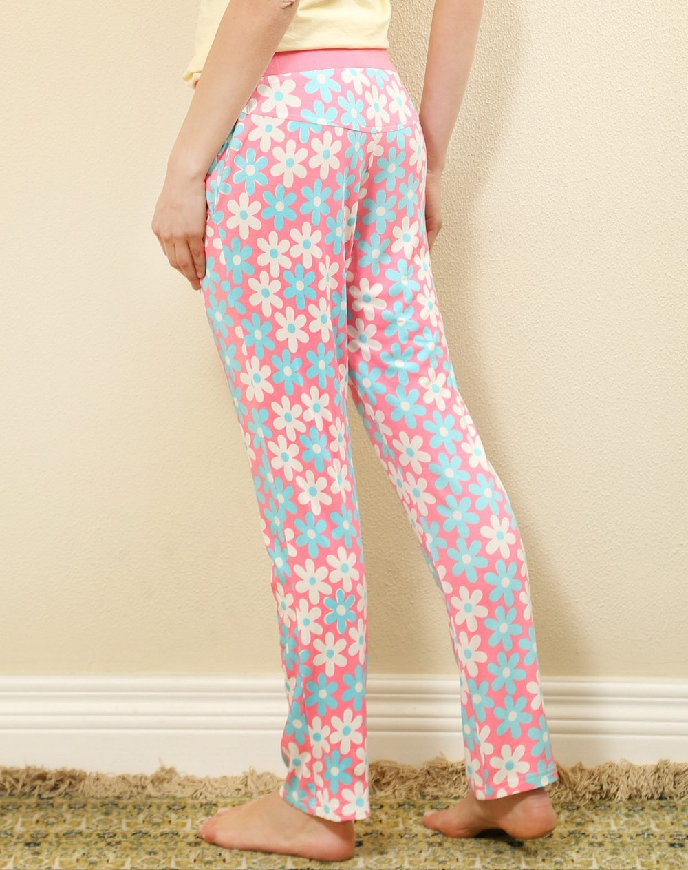 Pink print white blue pattern flower pants women casual pajamas fashion lady casual pajamas