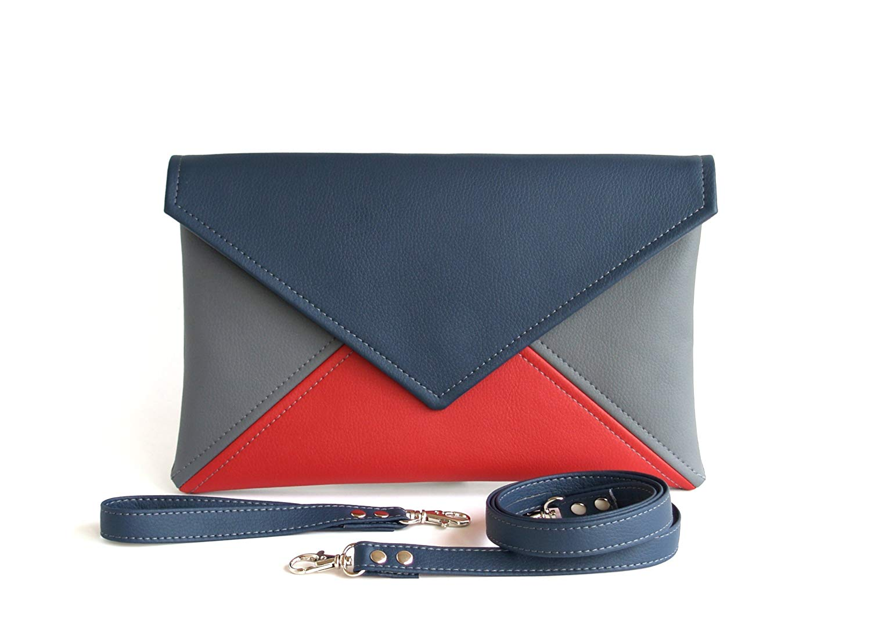 40ee60926066 Get Quotations · Handmade Clutch Bag envelope Navy blue Grey Red Clutch  Purse