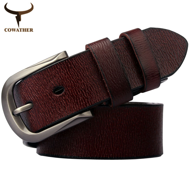 2015 hot sale Men and women casual cow genuine leather belt men pin buckle strap belts for women nice quality free shipping 02