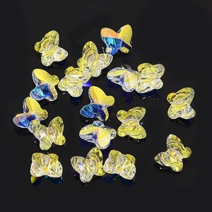 8mm Blue Gold Austrian Crystal AB Dynamic Butterfly Beads
