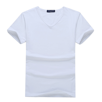 Custom Printed V Neck Men's t-shirt Blank White Modaier Tee
