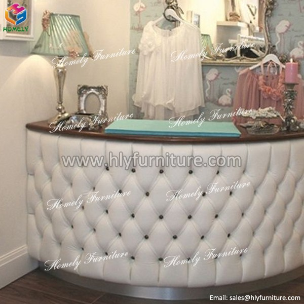 Cheap Small Nail Salon Diamond Tufted Front Desk Reception