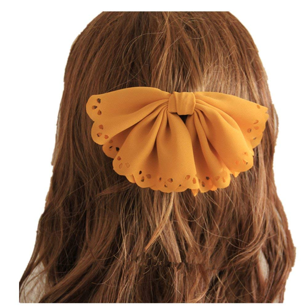 ShungFun Women Vintage Chiffon Big Hair Clips Little Girl Hair Bows Hair Barrettes Hair Holders (Yellow)