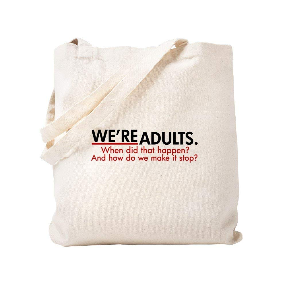 CafePress - We're Adults Grey's Quote - Natural Canvas Tote Bag, Cloth Shopping Bag
