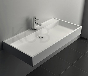 Modern 60quot Double ADA Floating Concrete Bathroom Sink Dusk 3 Holes Per