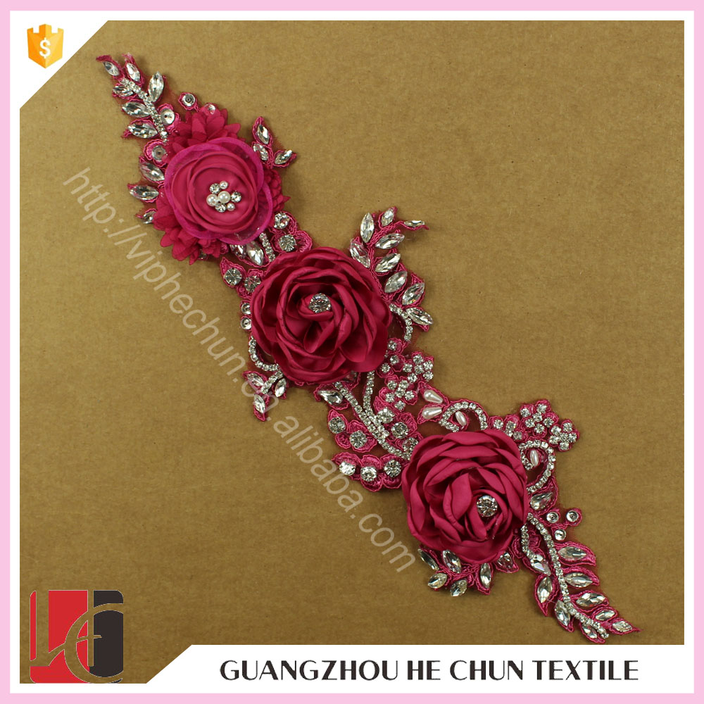 HC-4868-1 Hechun 2016 Bridal Rose Red Chiffon Crystal Flower Lace Motif Applique