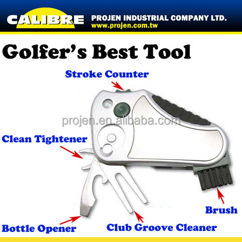 CALIBRE Promotion Gift All In One Golfer's Best Tool With Golf Tees Holder Multi Golf Tool With Ball Marker