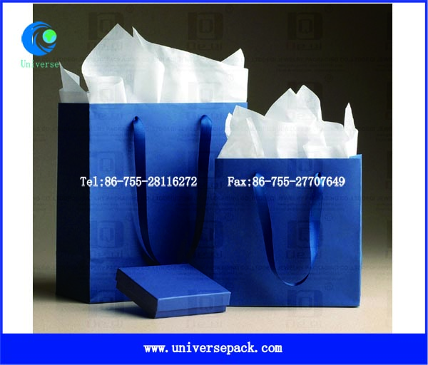 Simple Gifts Bags Blue Cloth Handle Paper Bag Made In China For Market
