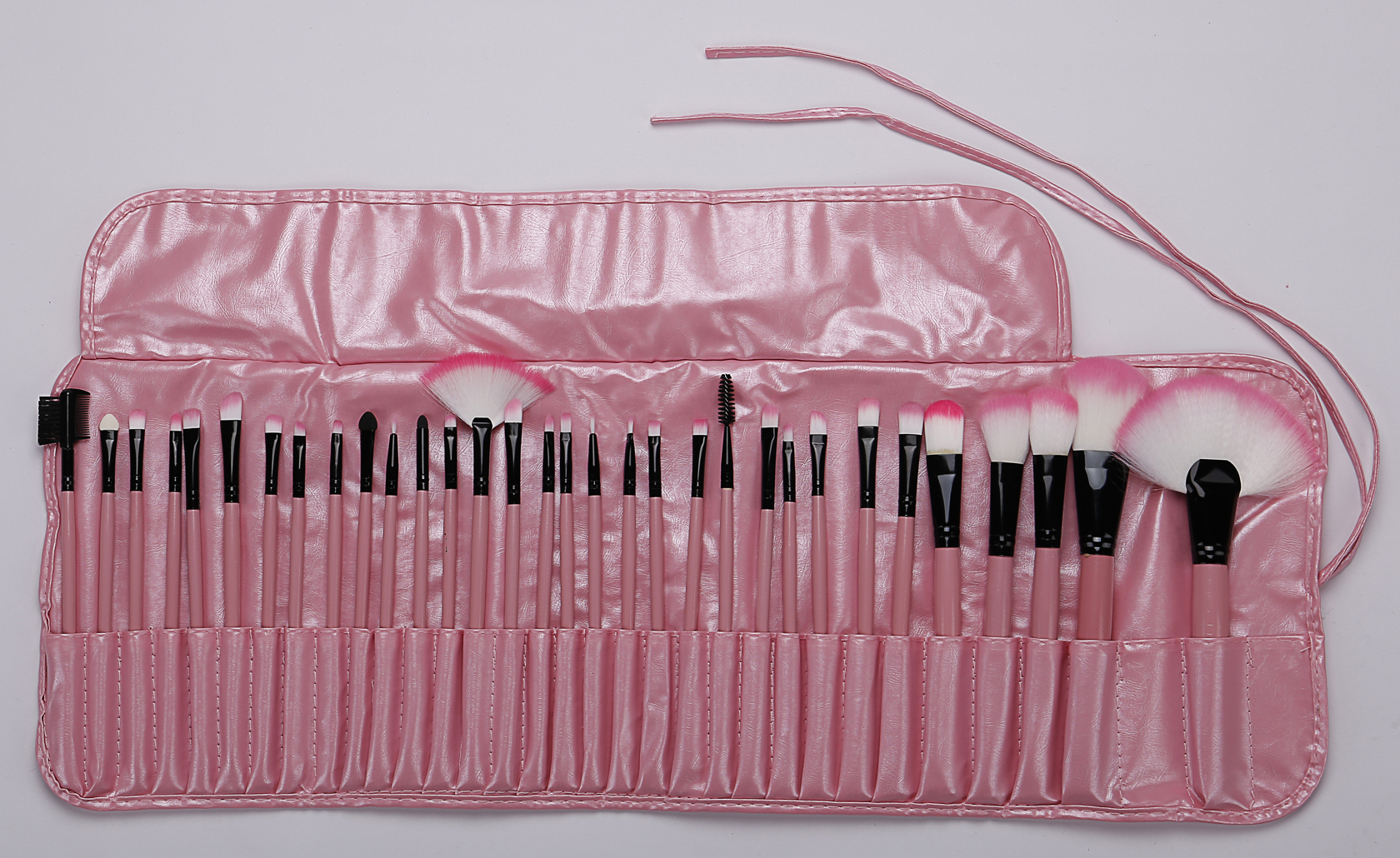 24 pieces Cheap price pink  profession private label  synthetic hair aluminum handle makeup brush set
