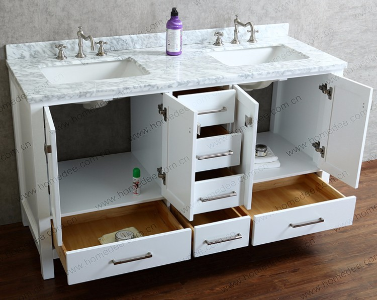 Floor Mounted Used Double Sink Solid Wood Bathroom Vanity