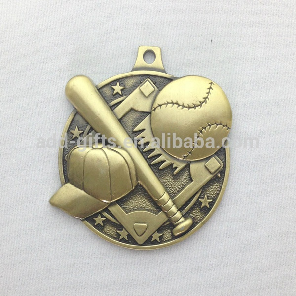 wholesale custom unique design 3D baseball gold sport metal medal for souvenir
