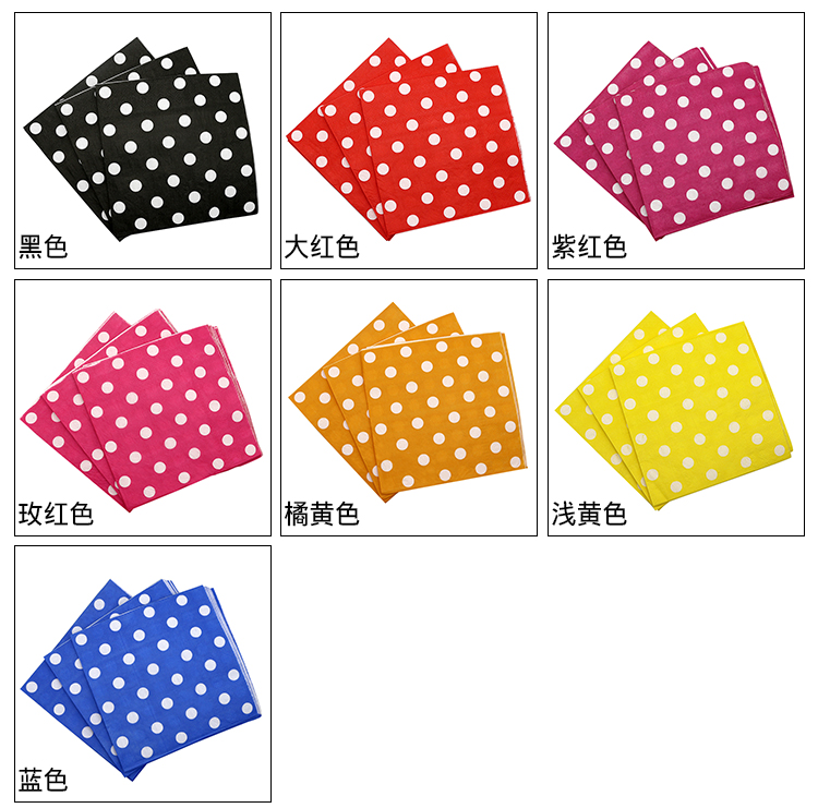 Disposable Tableware Sets Party Polka Dot Printed Paper Nakpins for Wedding Decor Birthday Party Supplies
