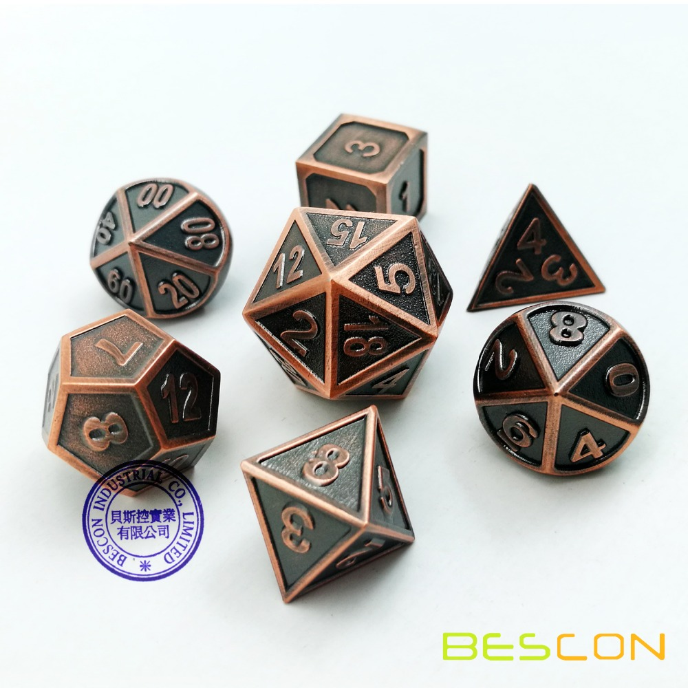 Bescon New Style Copper Solid Metal Polyhedral D&D Dice Set of 7 Copper Metallic RPG Role Playing Game Dice 7pcs Set D4-D20 фото