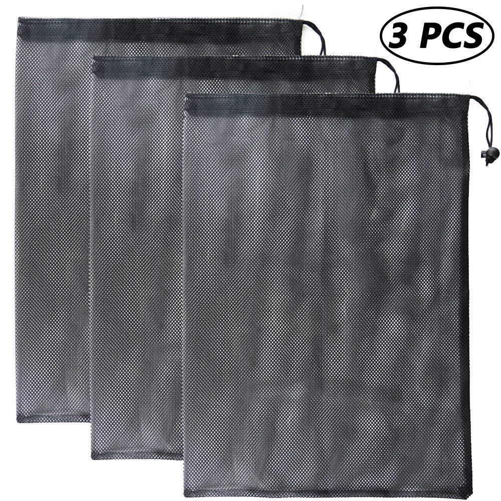 3058eeaf8693 Bignc 3 Pack Mesh Stuff Sack with Cord Lock Closure, Durable Lightweight  Nylon Mesh Storage Ditty Bag, Laundry Bag, Golf Ball Bag