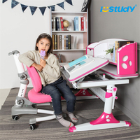 Wooden multi-functional children's study table with adjustable height