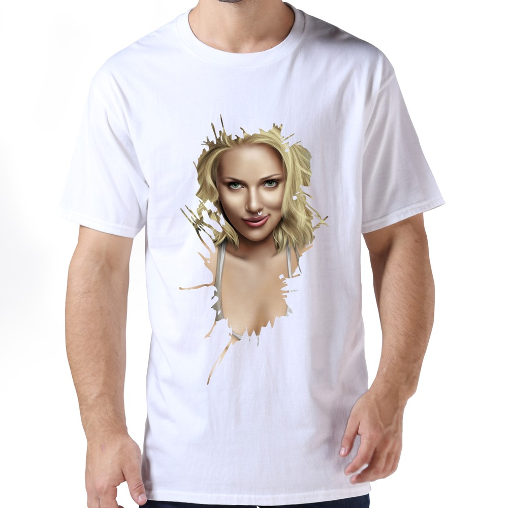 fashion scarlett johansson retrato t shirt korean style cotton mens classic t shirt for mens in. Black Bedroom Furniture Sets. Home Design Ideas
