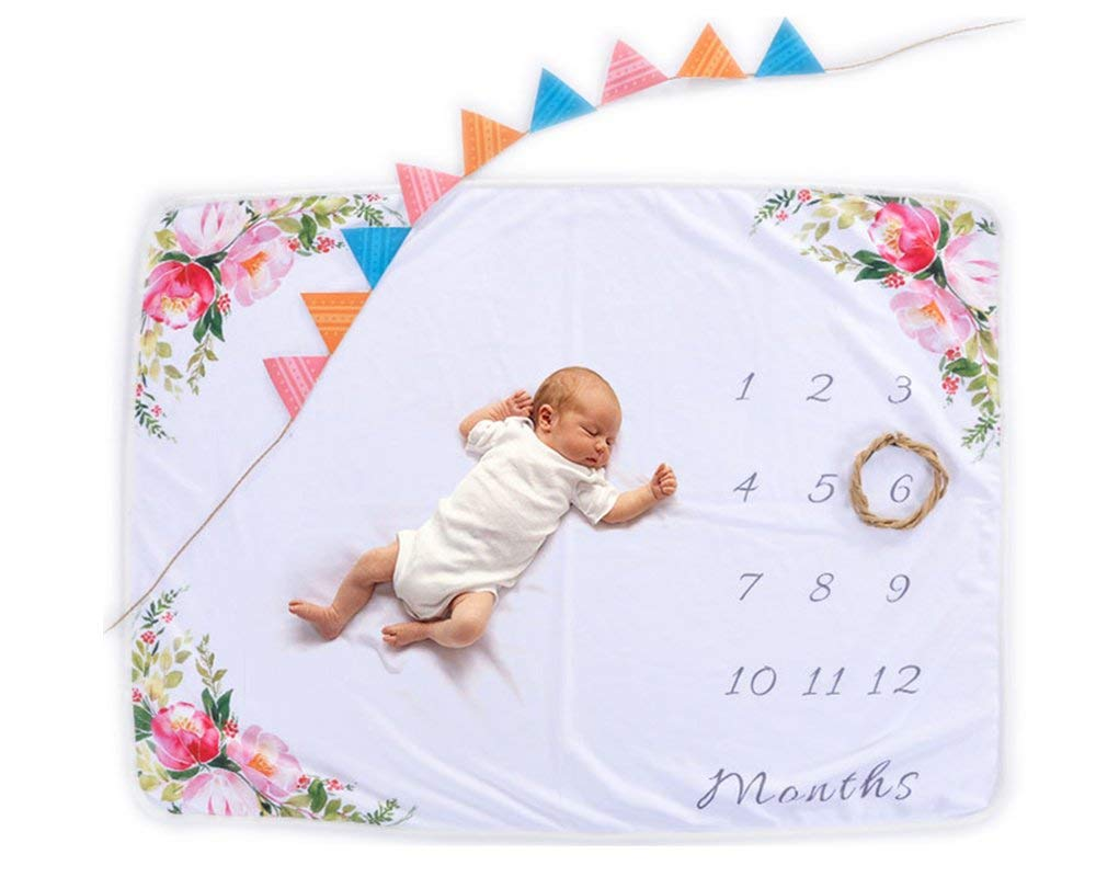 AmazingM Monthly Baby Girl Milestone Blanket,Personalized Photo Background Props(Floral), 1-12 Months Baby Shower Gifts for Boy or Girl(with a Bonus Floral Wreath),30''X40''