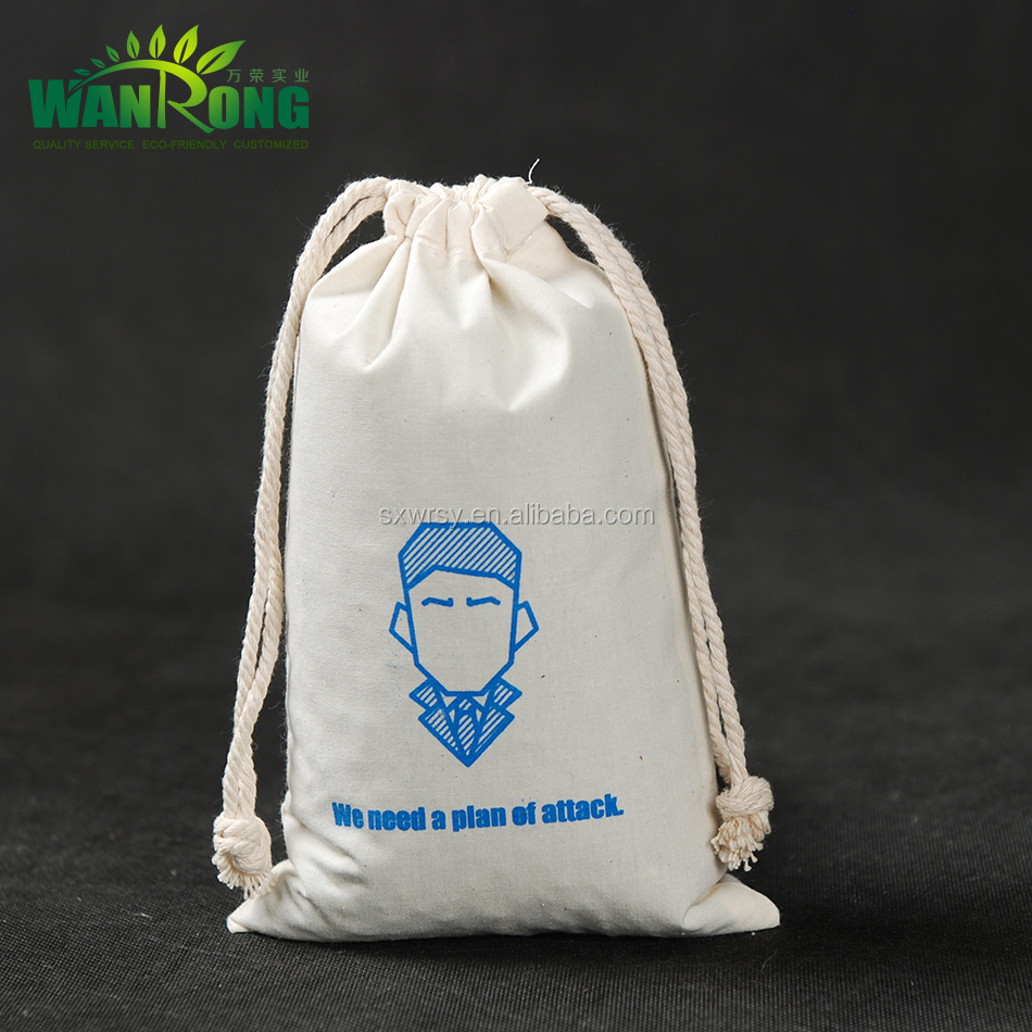 Custom designed free sample drawstring cotton shoes bag