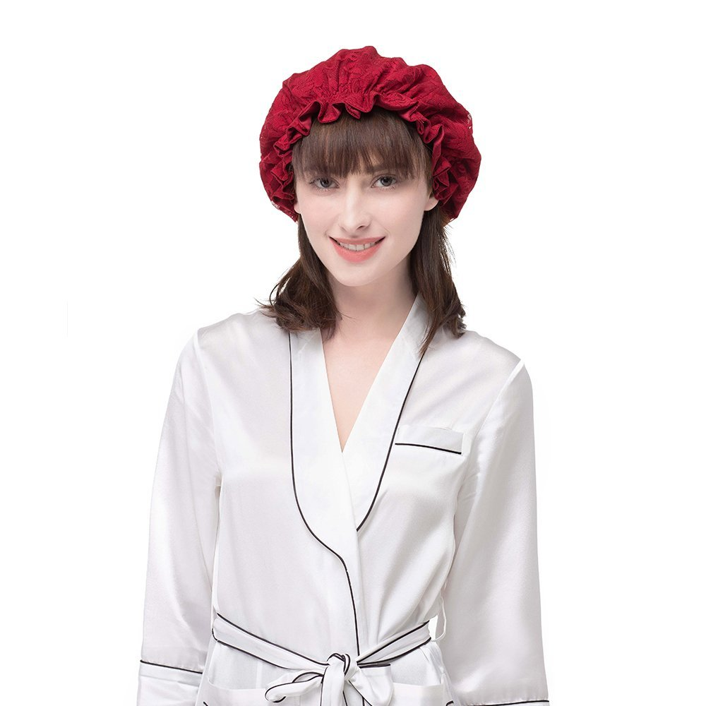 LILYSILK Women's 100 Mulberry Silk Sleep Cap with Lace Covered for Hair Pure Silk Hat Claret