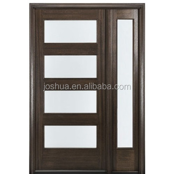 4 Lite Contemporary 96u0026quot; Tall Mahogany Entry Doors And Sidelites With  Insulated Glass