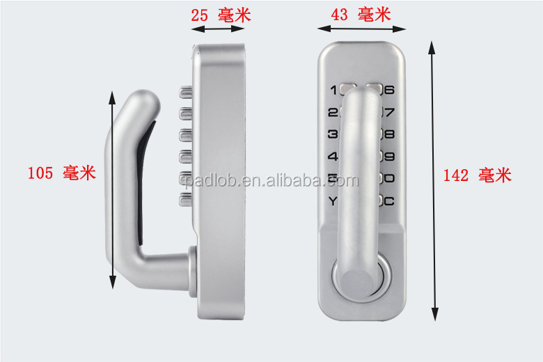 Keyless digital combination push button security door mechanical code lock