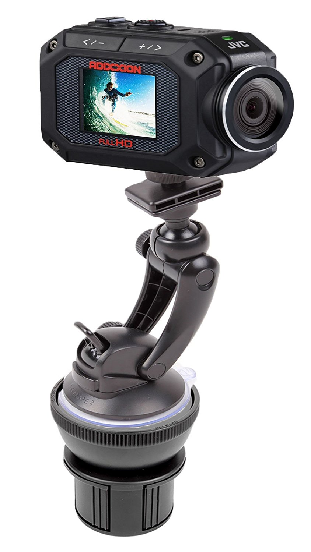 DURAGADGET Anti-Shock & Adjustable In Car Cup Holder Mount For Sony HDR-AS15/HDR-AS30V & JVC GC-XA1/GC-XA2 ADIXXION