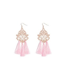 Zooying hollow pink and gold filigree tassel earrings for girls