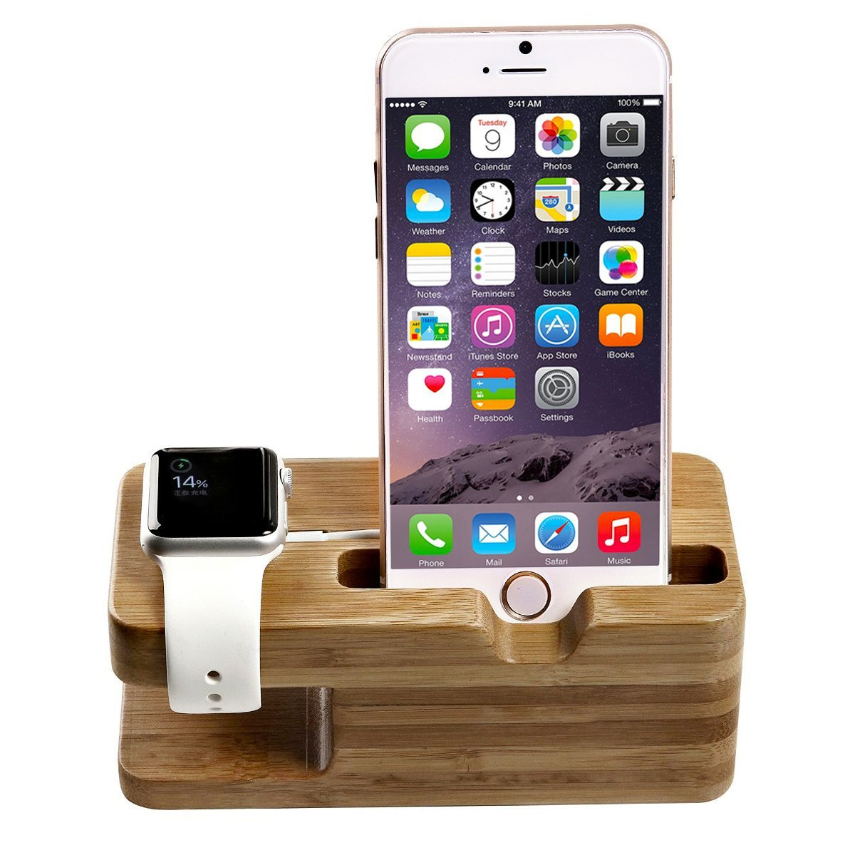 Apple Watch Stand, Pasonomi® Apple Watch Bamboo Wood Charging Stand Bracket Docking Station Stock Cradle Holder for Apple Watch & iPhone - Fits iPhone Models: 5 / 5S / 5C / 6 / 6 PLUS and both 42mm & 38mm sizes of 2015 Watch Models