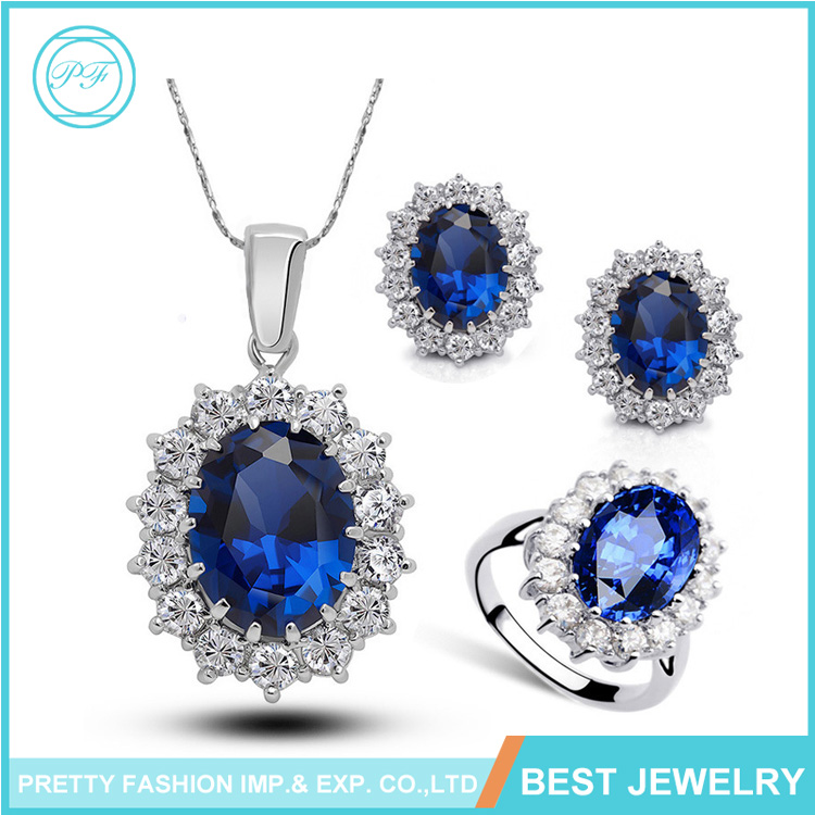Fashion Latest Design Rhinestone Sapphire Ring Necklace Earrings Three Jewelry Set For Girls