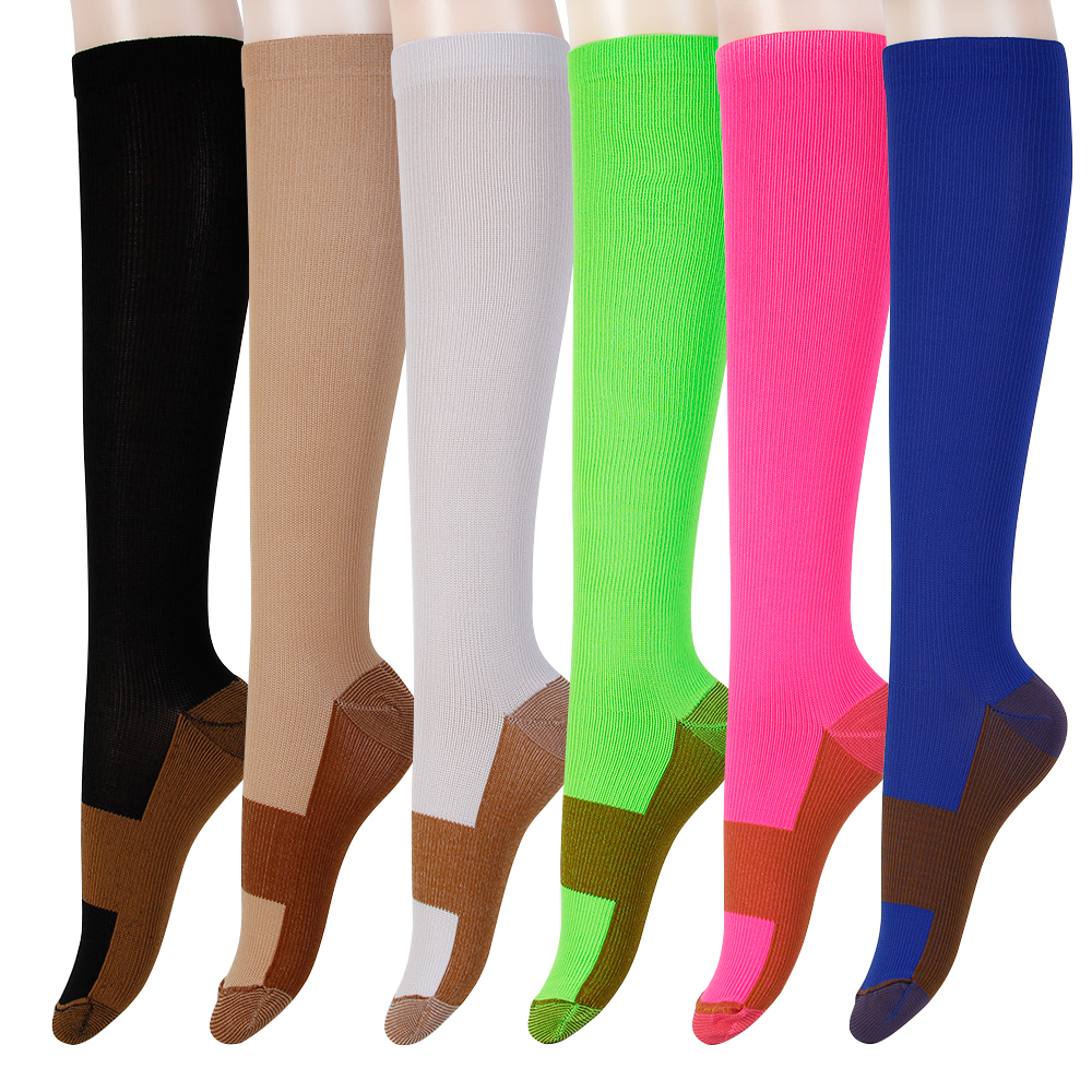 Healthy Nees Miracle Combo Infused Compression Socks Helps Reduce Swelling Pain Traveling Anti-Fatigue Feet Support, White and black nude red navy yellow