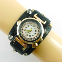 Leather cuff crystal rhinestone bracelets bangle quartz lady fancy wrist watch.