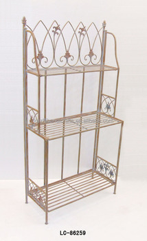 Antique 3 Tier Wrought Iron Kitchen Shelf