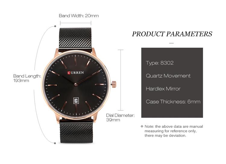 Curren 8302 Fashion Men Quartz Watch 8