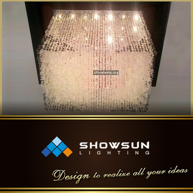 Square modern crystal ceiling lighting for hall